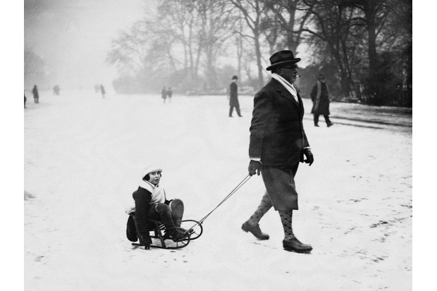 Sledging in the snow, UK