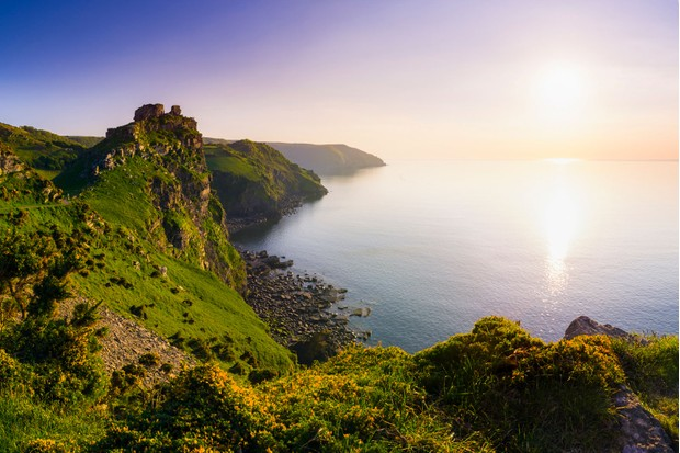 Valley of the Rocks and Wringcliff Bay at sunset in Exmoor National Park, Lynton