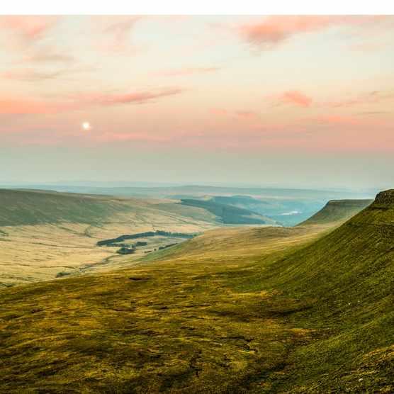 Sunset over Pen Y Fan, Mountain Range, Wales UK