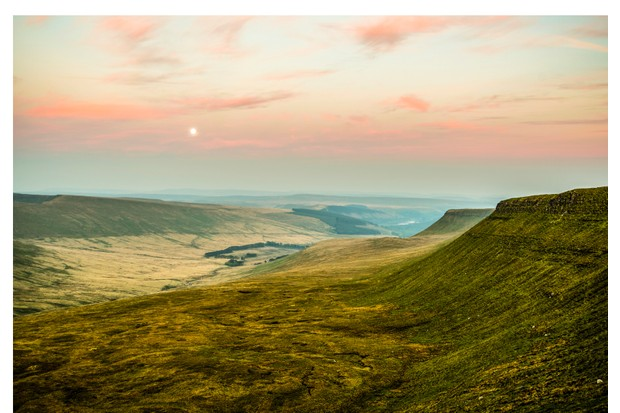 Sunset over Pen Y Fan, Mountain Range, Wales UK