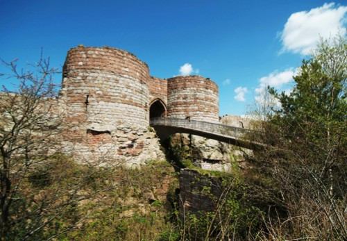beeston castle, beeston, cheshire. guide book photography gatehouse and ramp