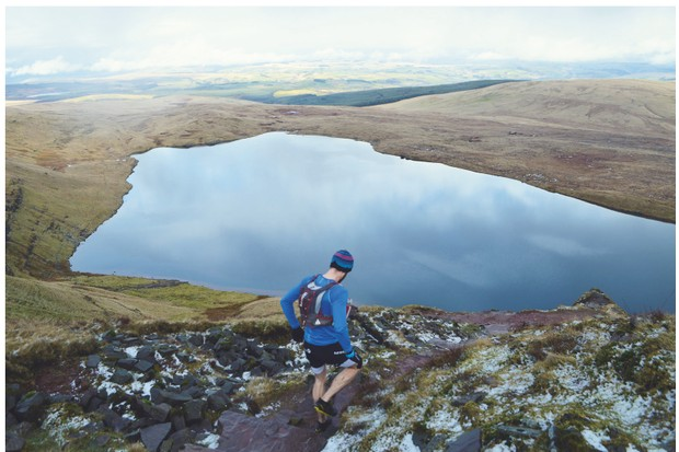 Surrounded by peat moorland, rocky mountain ridges and spilling streams, Llyn y Fan Fawr is a great place for novices to try their hand – and feet – at a guided trail run
