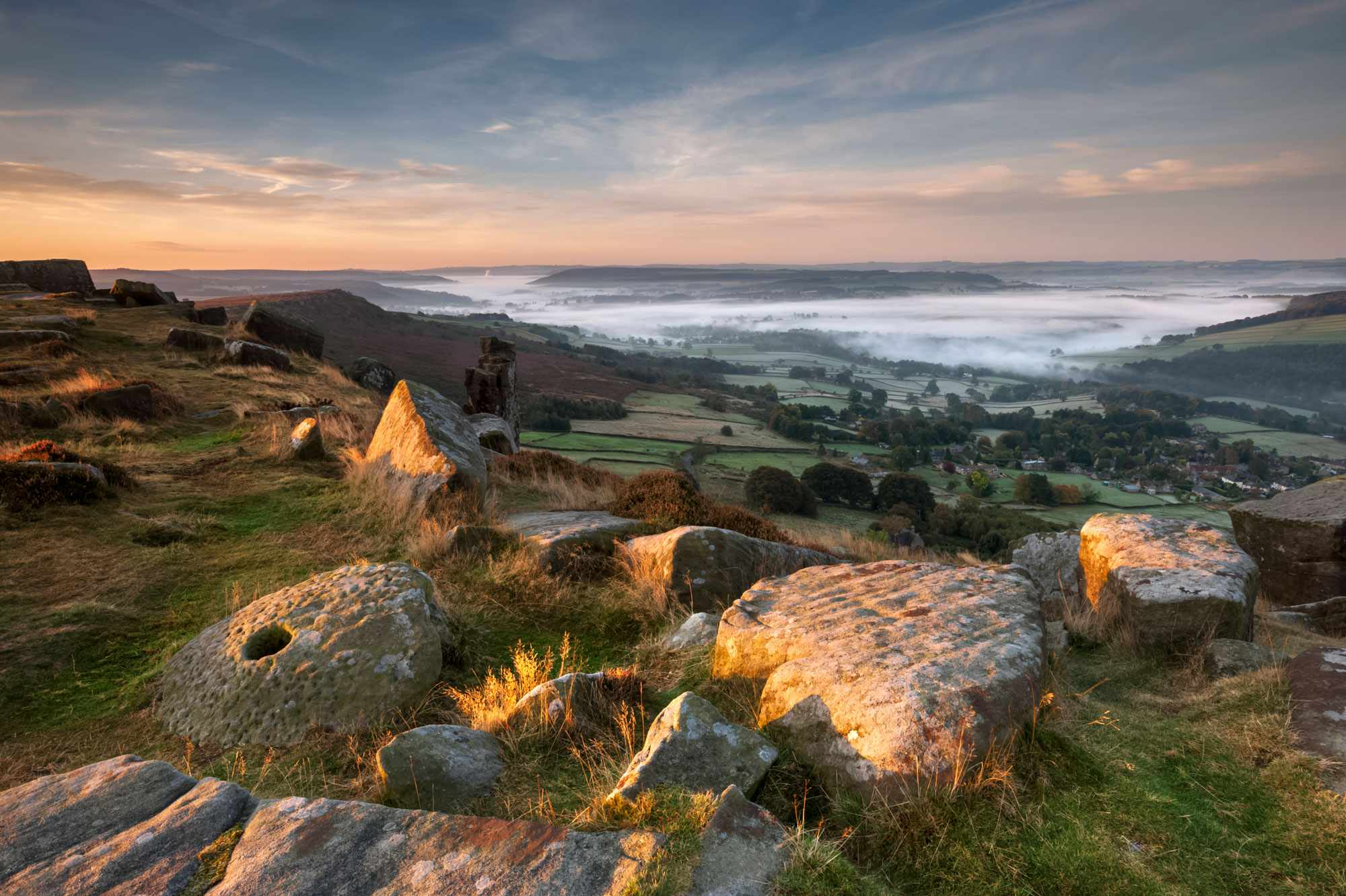 Curbar Edge with a cloud inversion looking towards the Chatsworth Estate - Getty Images