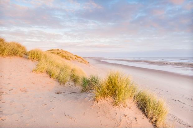 Pale pink sand dunes Druridge Bay Northumberland England