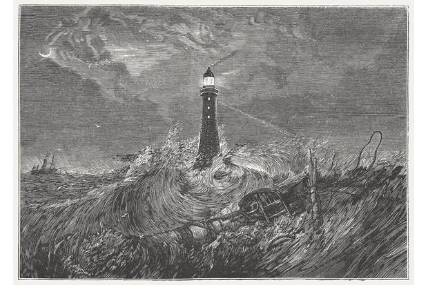 Eddystone Lighthouse engraving by J.M.W. Turner