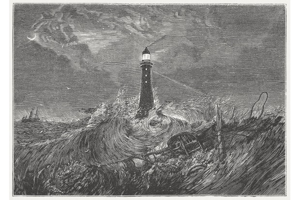 Eddystone Lighthouse engraving by J.M.W. Turner