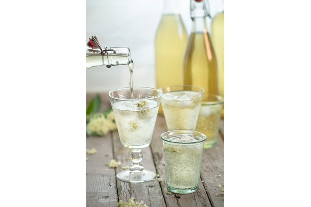 Pouring elderflower cordial into drinking glas