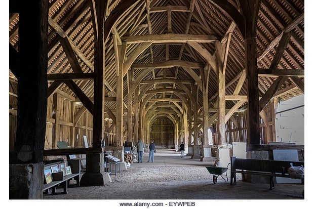 EYWPEB Interior of The Great Barn at Harmondsworth, dating from 1426, Middlesex, England, United Kingdom, Europe