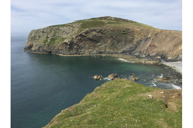 View across Aber Mawr bay towards Carn Ysgubor