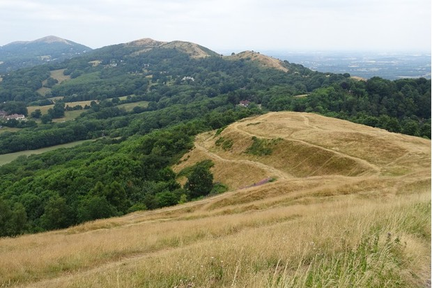 Earthworks on the British Camp in the Malvern Hills