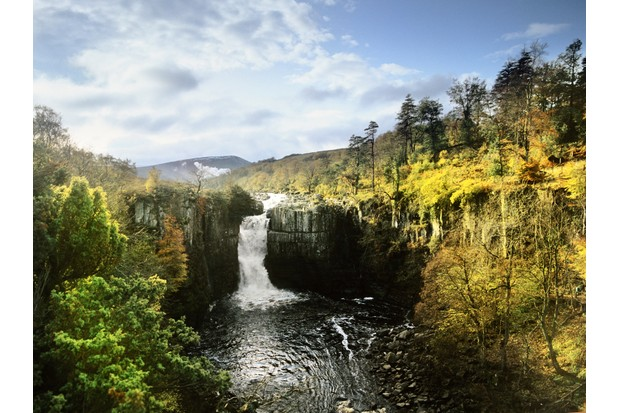 high force waterfall on the river tees in county durham - from the route of the pennine way