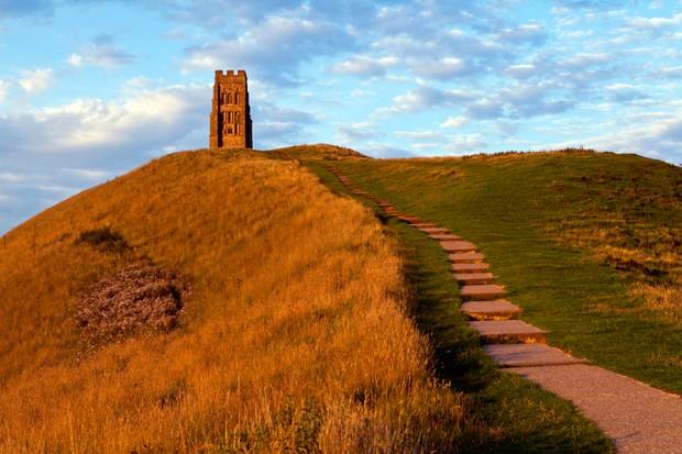 The historic Glastonbury Tor in Somerset, England.