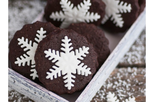 Snowflake chocolate biscuits