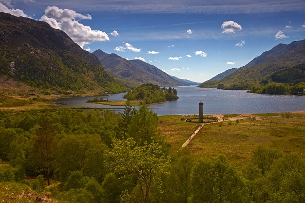 Glenfinnan Monument at the head of Loch Shiel. (Photo by: Loop Images/UIG via Getty Images)