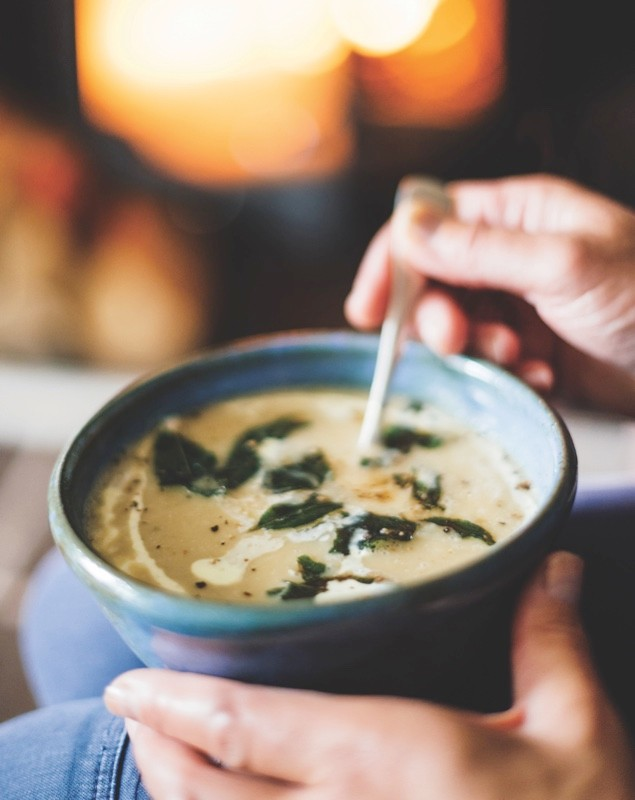 Parsnip and apple soup with cream and crispy sage recipe