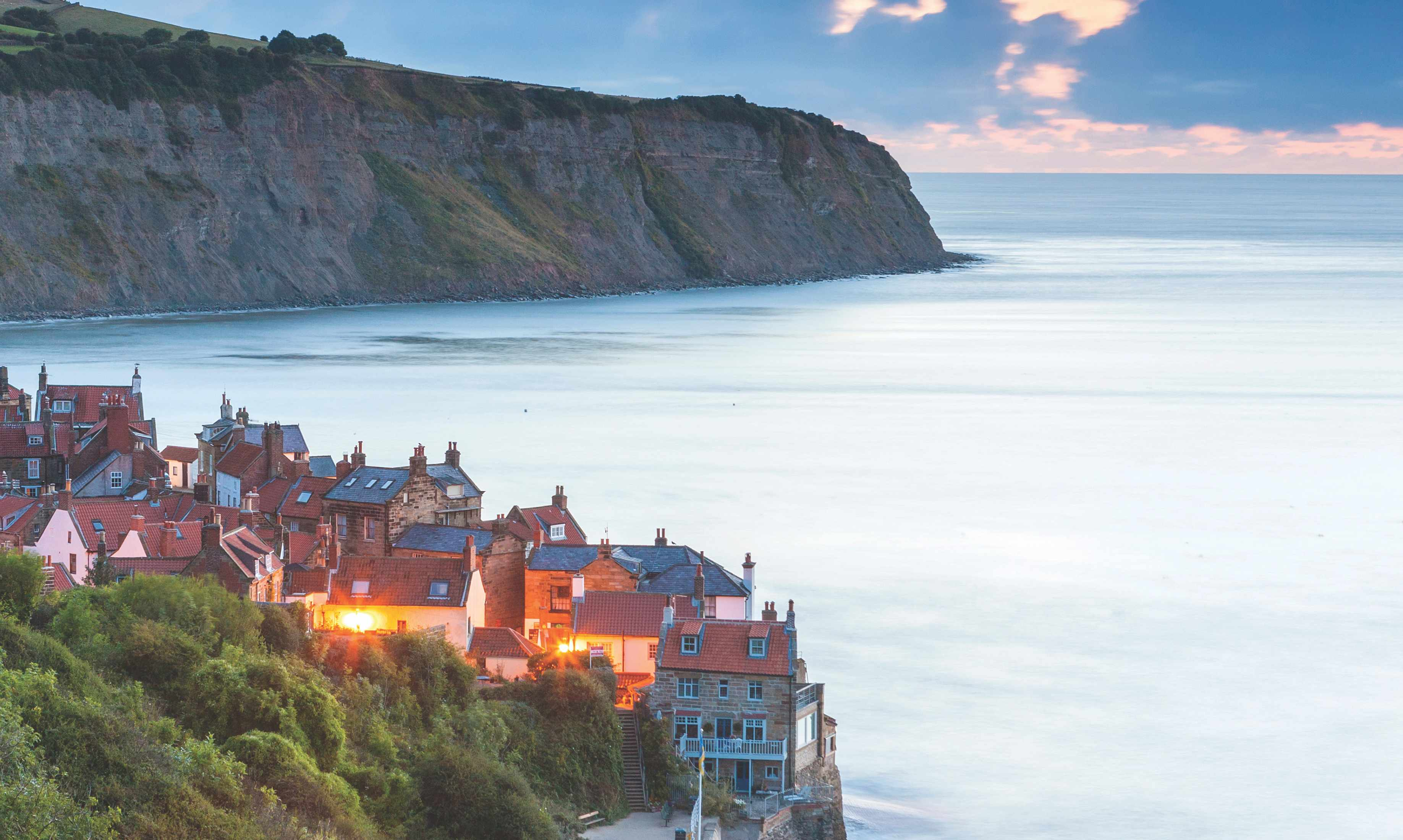 United Kingdom, UK, England, North Yorkshire, Great Britain, North York Moors National Park, British Isles, Robin Hood�s Bay at dusk