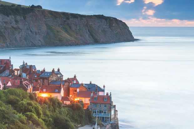 United Kingdom, UK, England, North Yorkshire, Great Britain, North York Moors National Park, British Isles, Robin Hood�s Bay at dusk