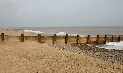 Sea Defense, groynes at Hornsea, North Yorkshire. Designed to reduce long shore drift and erosion at europes fastest eroding coastline.