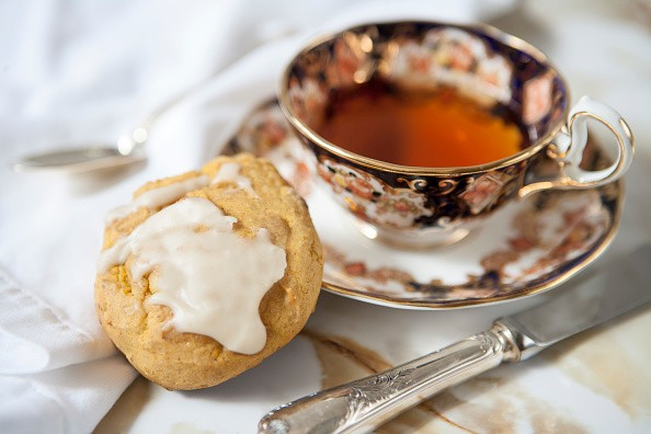 Pumpkin Spice Scone with Maple Glaze and Cup of Tea. (Photo by: Education Images/UIG via Getty Images)