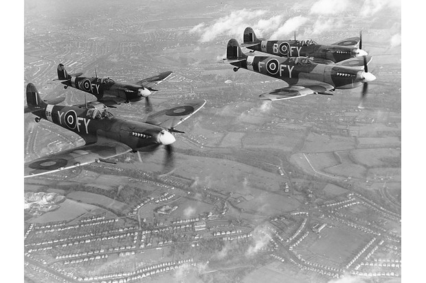 Supermarine Spitfire Mk. IXs (EN133 'FY-B', BS12? 'FY-K', BS435 'FY-F' and BS547 'FY-Y') of 611 Squadron, in flight, Biggin Hill, 8 December 1942. (Photo by Charles E. Brown/Royal Air Force Museum/Getty Images)