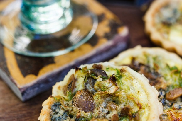 Sprout, blue cheese and chestnut Christmas tarts