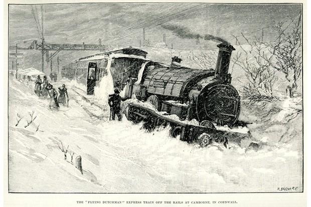 Train in blizzard, Cornwall
