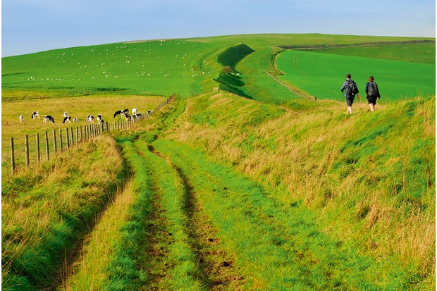 Traverse Wansdyke dark age earthwork in that stretches 56 km over Somerset and Wiltshire