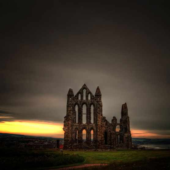 Whitby Abbey at sunset