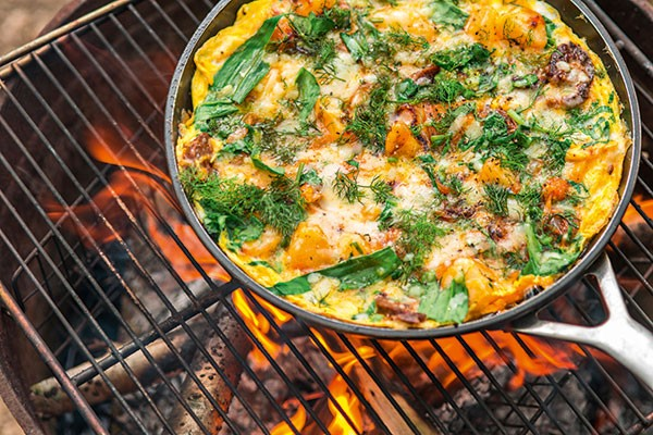 Wild garlic, potato and chorizo tortilla