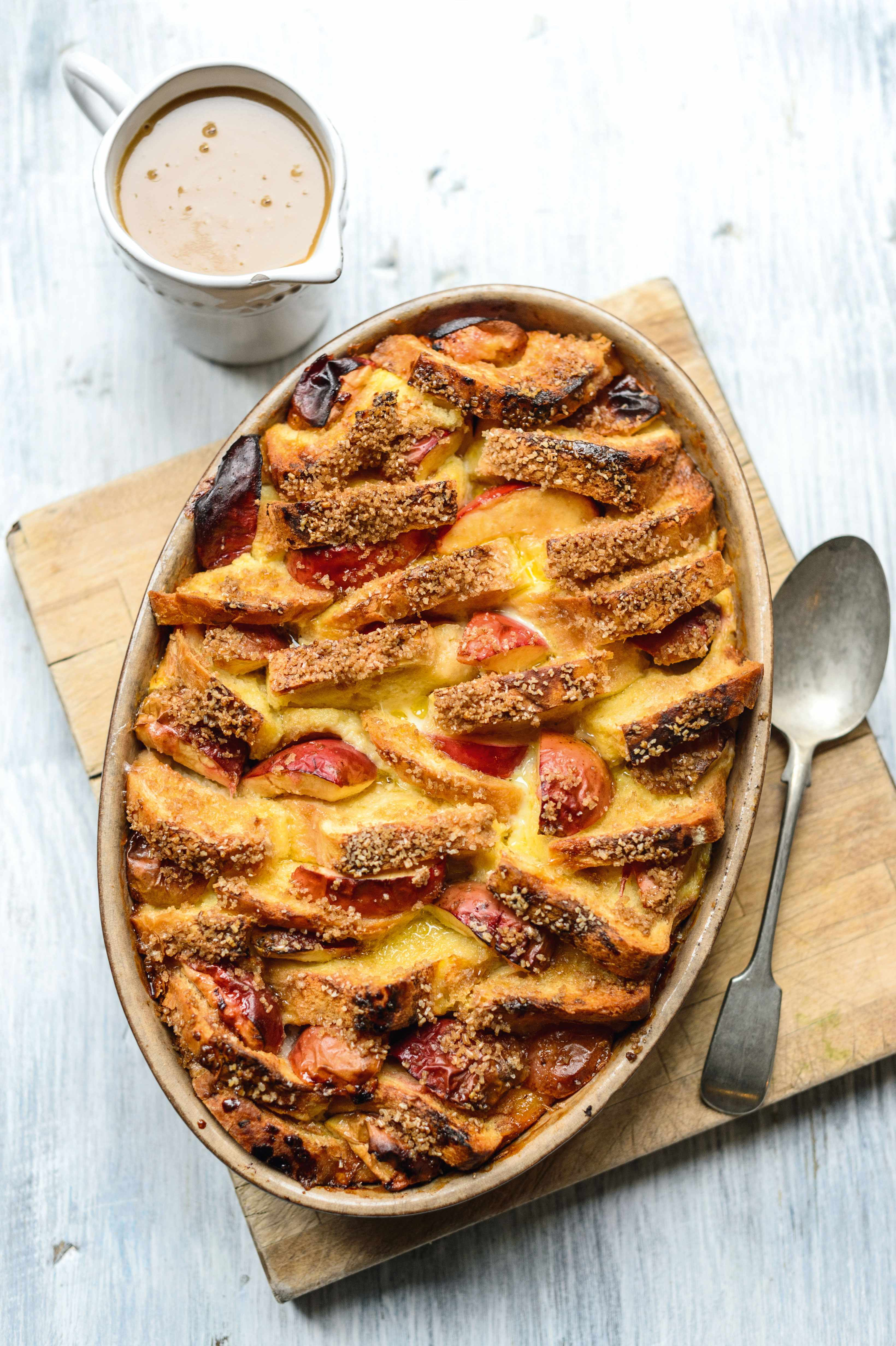 Apple bread and butter pudding with butterscotch sauce