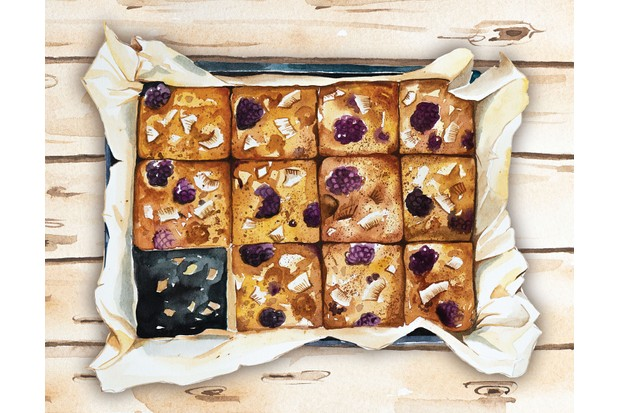 Blackberry coconut tray bake