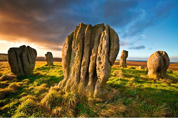 Duddo Four Stones, a prehistoric stone circle on a hilltop in Northumberland