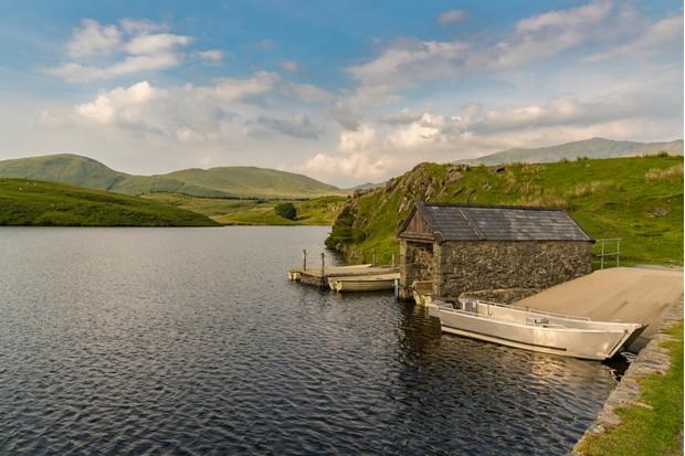 oats and boat house at Llyn y Dywarchen near Rhyd Ddu in Gwynedd,