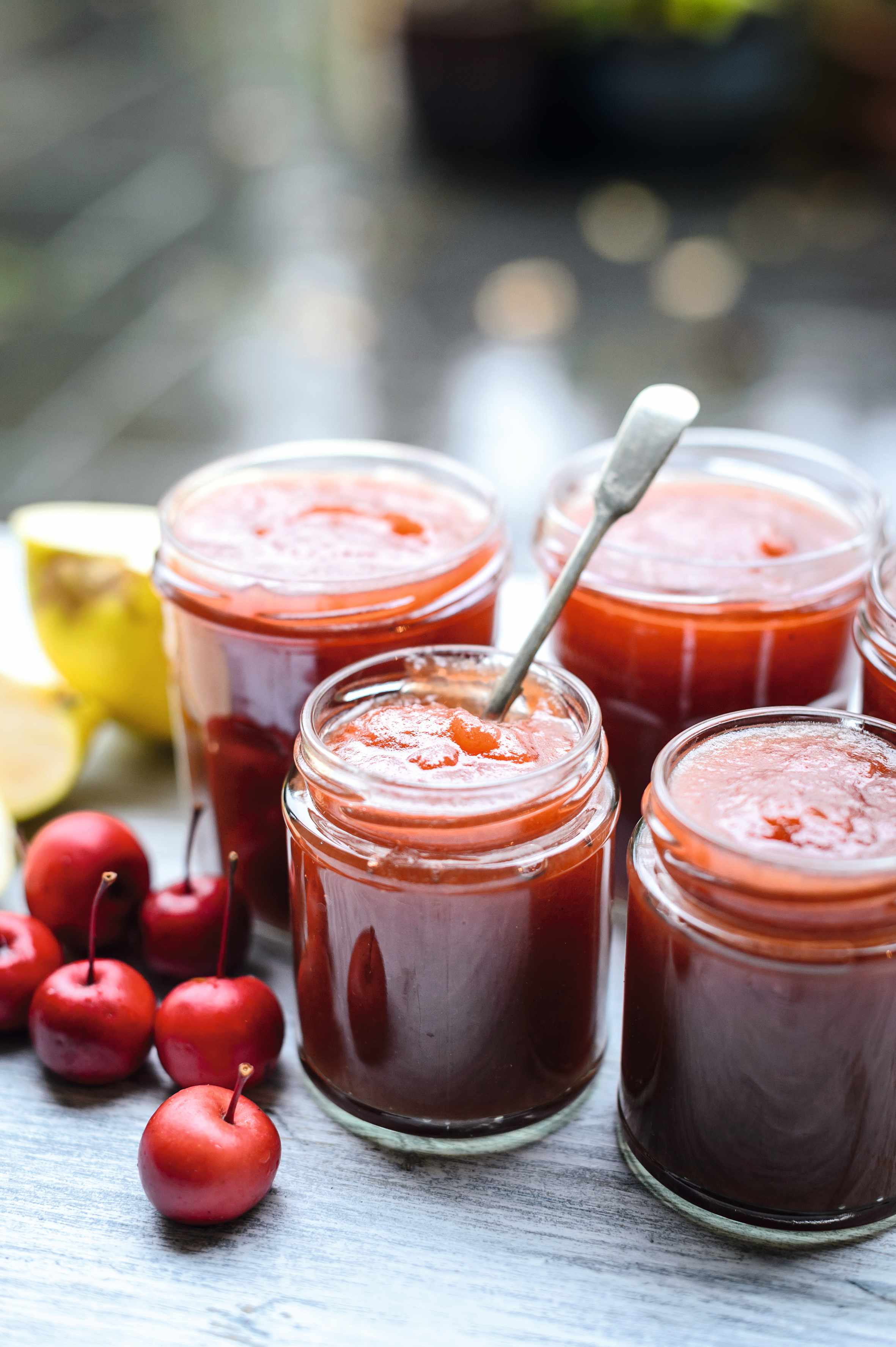 Spiced apple butter in jar