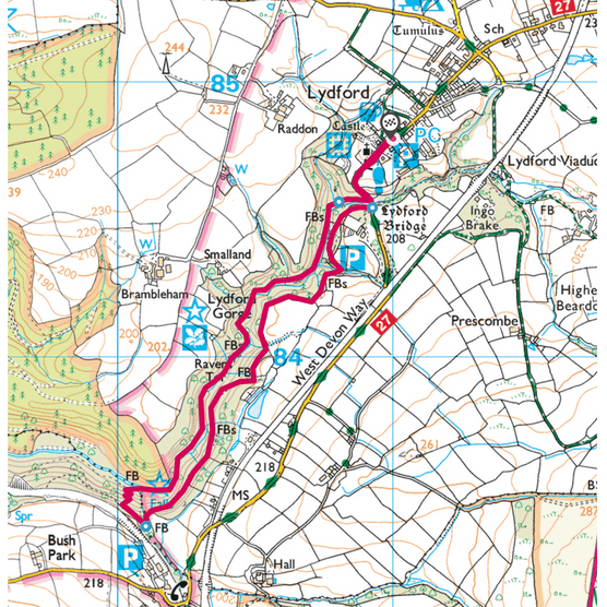 Lydford Gorge map
