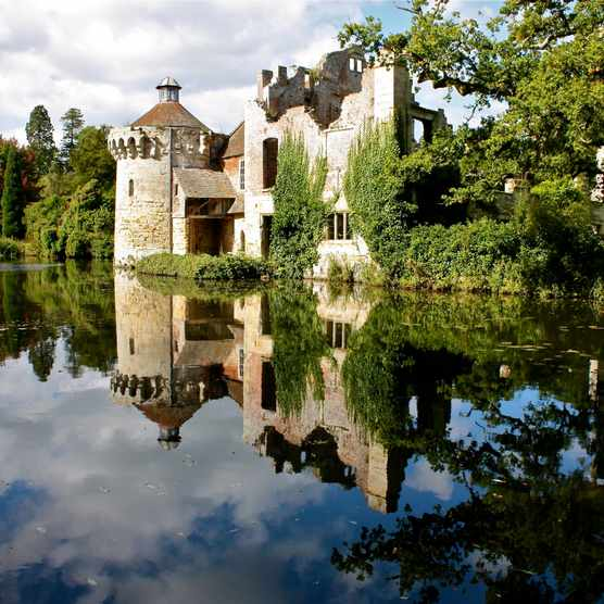 Reflection of a castle on water