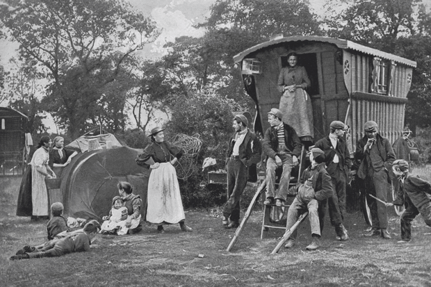 Gypsy encampment in Essex, c1899
