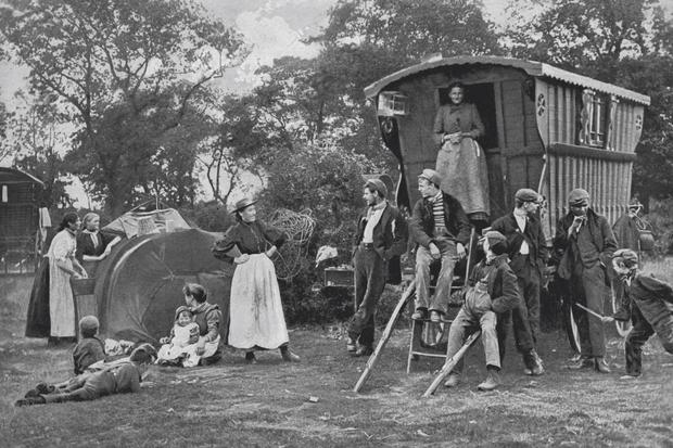 Gypsy encampment in Essex, c1899
