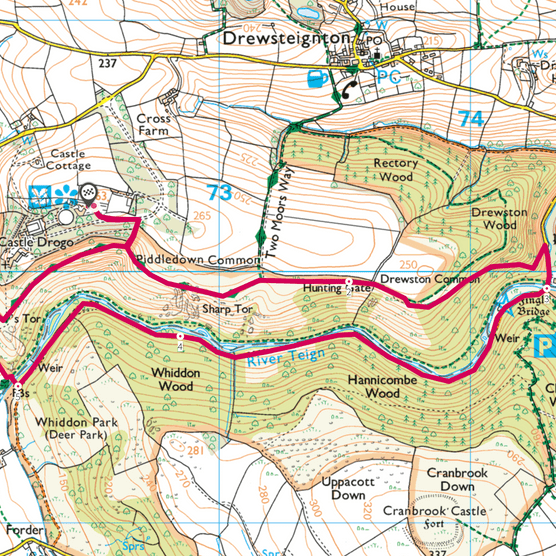 Teign Gorge map