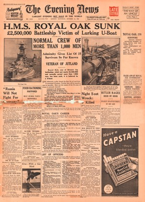 E5GFA2 1939 Evening News (London) front page reporting sinking HMS Royal Oak