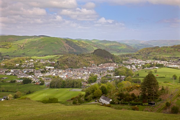 Powys, Machynlleth, wide view over town and surrounding hills