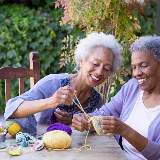 Knitting outdoors and mindfulness