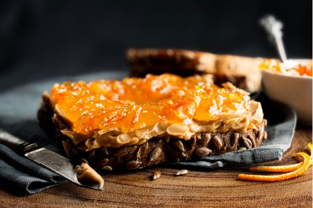 Peanut butter and orange marmalade on toast (Photo by: Hooman Mesri via Getty Images)