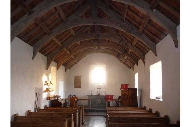 Inside Mwnt church, Wales