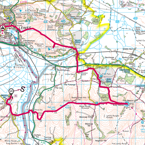 Firle Beacon map