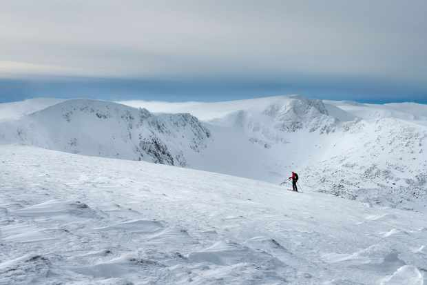 Skiers in the Cairngorms, Scotland