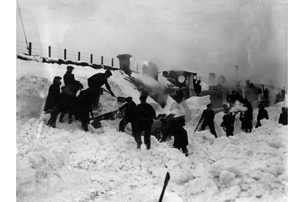 Train stuck in snow in 1927 winter blizzard