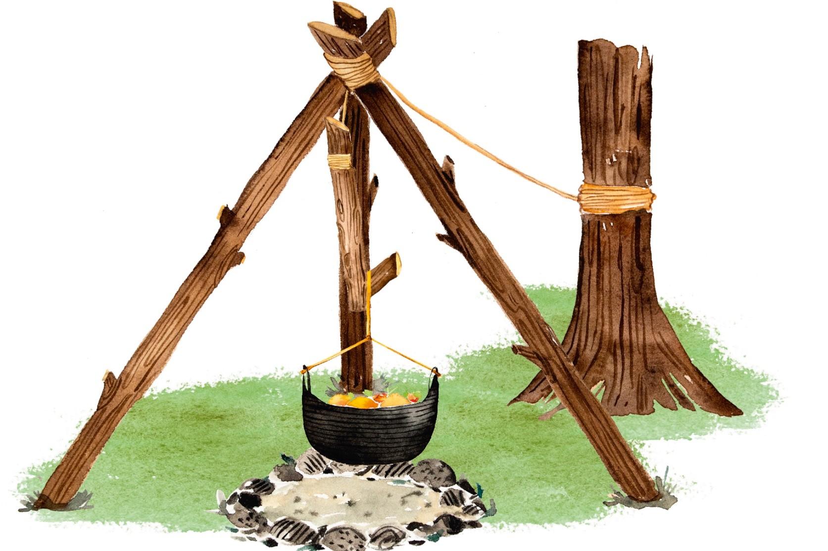 How to make a cooking campfire tripod ©Enya Todd