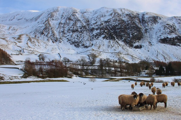 Winter snow in the Lake District National Park, Cumbria