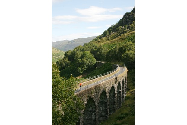Crossing Glen Ogle viaduct, Cycling National Route 7, Glen Ogle. Callander to Killin, Lochs and Glens, in Scotland